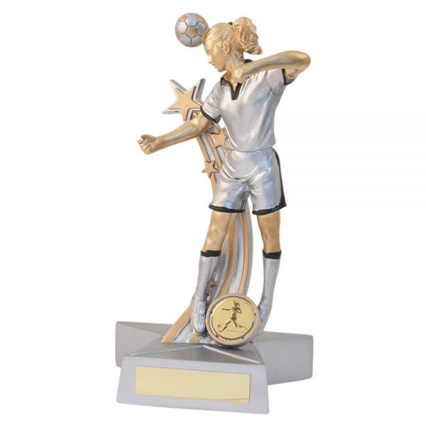 Female Footballer Header Silver Gold Resin award