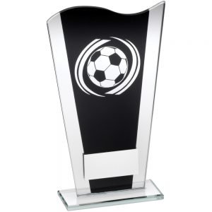 Black and Silver Glass Football Award