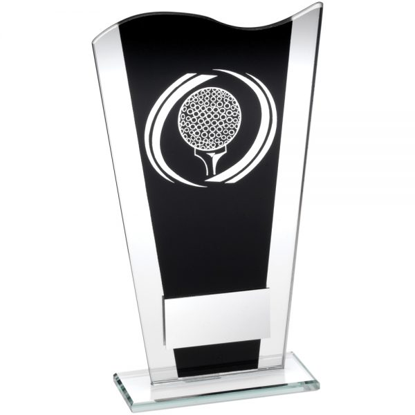 Black and Silver Glass Golf Award