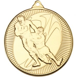 Gold Rugby Tackle Medal