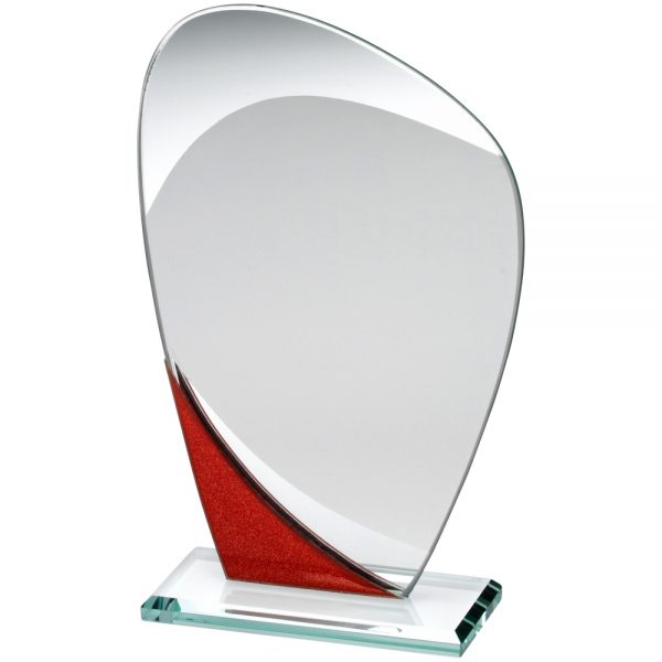 "6.5"" Red Curved Jade Glass Award"