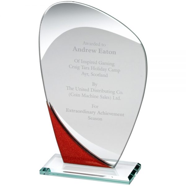 "7.25"" Red Jade Glass Curved Award"