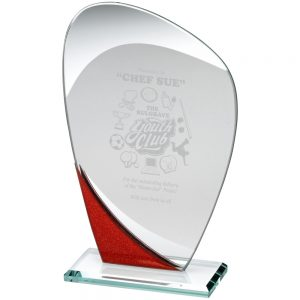 "8"" Red Jade Glass Curved Award"