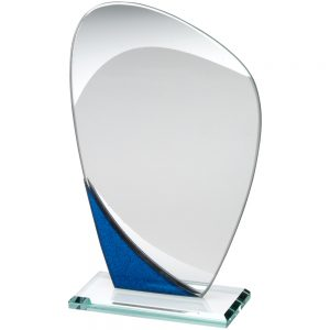"6.5"" Blue & Jade Glass Curved Award"