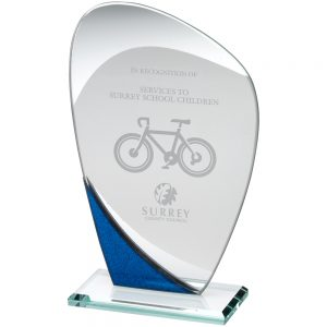 "7.25"" Blue Jade Glass Curved Award"