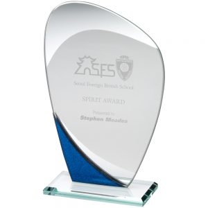 "8"" Curved With Blue Jade Glass Plaque"
