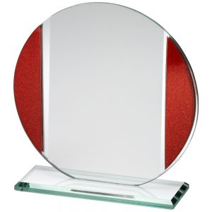 "5.75"" Circle With Red Jade Glass Plaque"