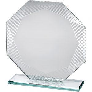 "6.25"" Octagon Lined Edge Jade Glass Award"