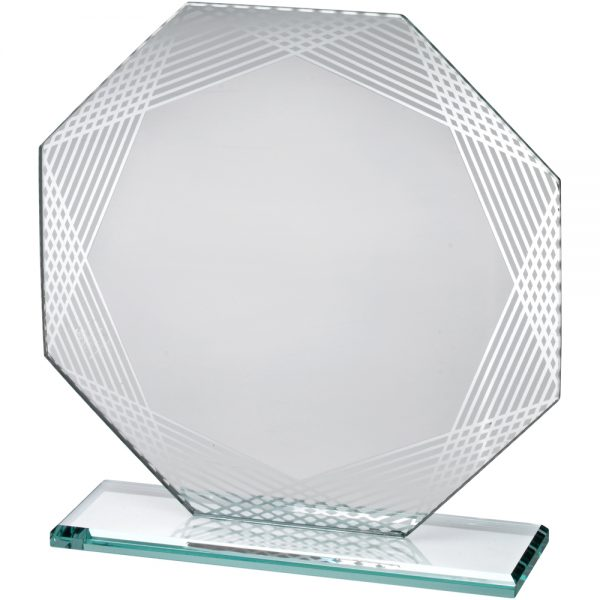 "6.25"" Octagon Lined Edge Jade Glass Award"