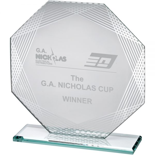 "7.5"" Octagon Lined Edge Jade Glass Award"