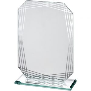 "6.75"" Rectangle Lined Edge Jade Glass Award"