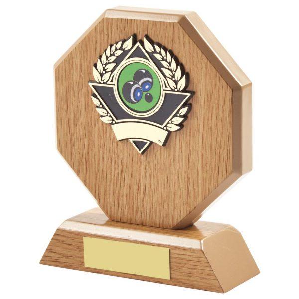 14cm Octagonal Oak Veneer Award